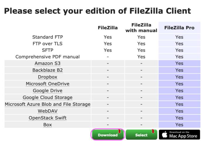 FileZilla ダウンロード選択