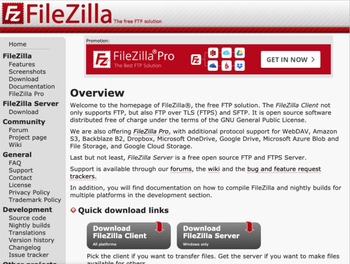 FileZIlla ダウンロード(英語)